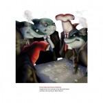 """Imágenes del álbum Ilustrado """"Si los tiburones fueran hombres""""."""